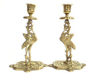 Brass Lucky Stork Bird Candlesticks Pair of Candle Holders Fertility Altar Ritual Magic Wicca Pagan Ornate Boho Witchy Decor MCM Mid Century