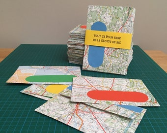 5 envelopes recycled in vintage MIchelin road maps handmade