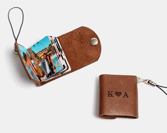 Personalized Leather Photo Keychain - Couples Gift for Boyfriend, Anniversary Gifts Couples