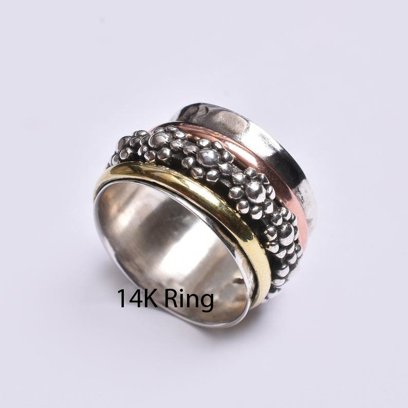 Gift For Her Meditation Ring Anxiety Ring Worry Ring Spinner Ring Promise Ring Fidget Ring Designer Ring Women Ring 925 Silver Ring