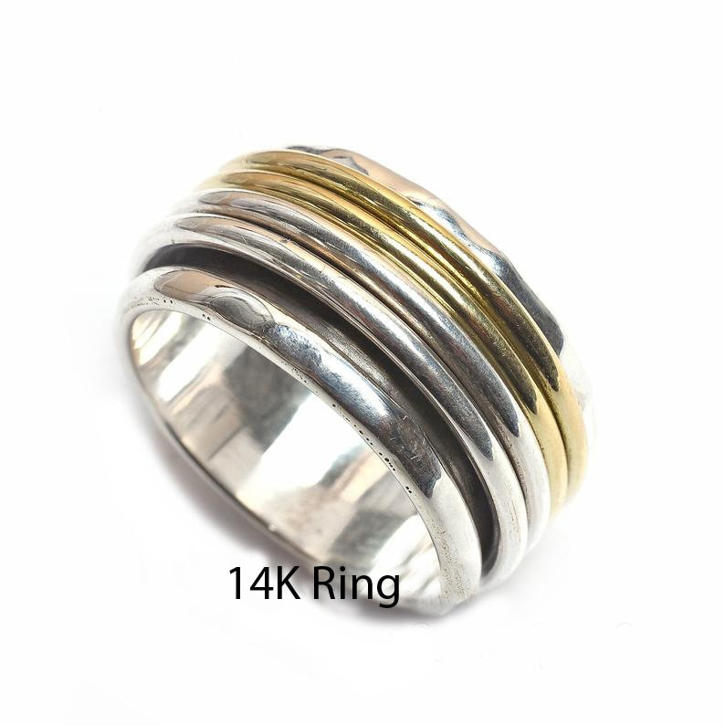 Boho Ring Meditation Ring 925 Silver Ring Spinning Ring Spinner Ring Promise Ring Fidget Ring Women Ring Gift For Her Anxiety Ring