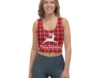 Christmas SLINKY BANDEAU CROP Top Party Costume Reindeer snowflake Penguin Strapless Bra bralet Cropped boob tube top Bralette Xmas Themed