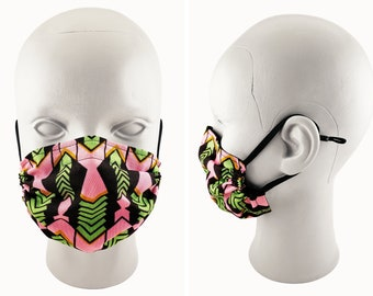 African Print Face Mask, Pink and Green, Adult & Child Sizes, 100% Cotton, Double Layer, Nose Wire, Adjustable Ear Straps, Washable