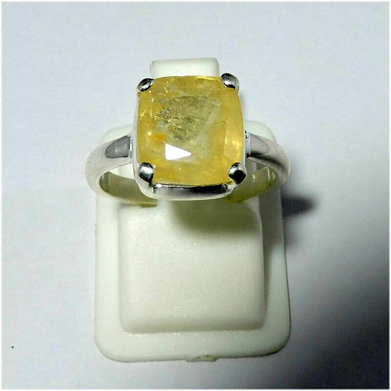 Genuine Natural Certified Yellow Sapphire Prong Setting 925 Sterling Silver Fine Ring Jewelry