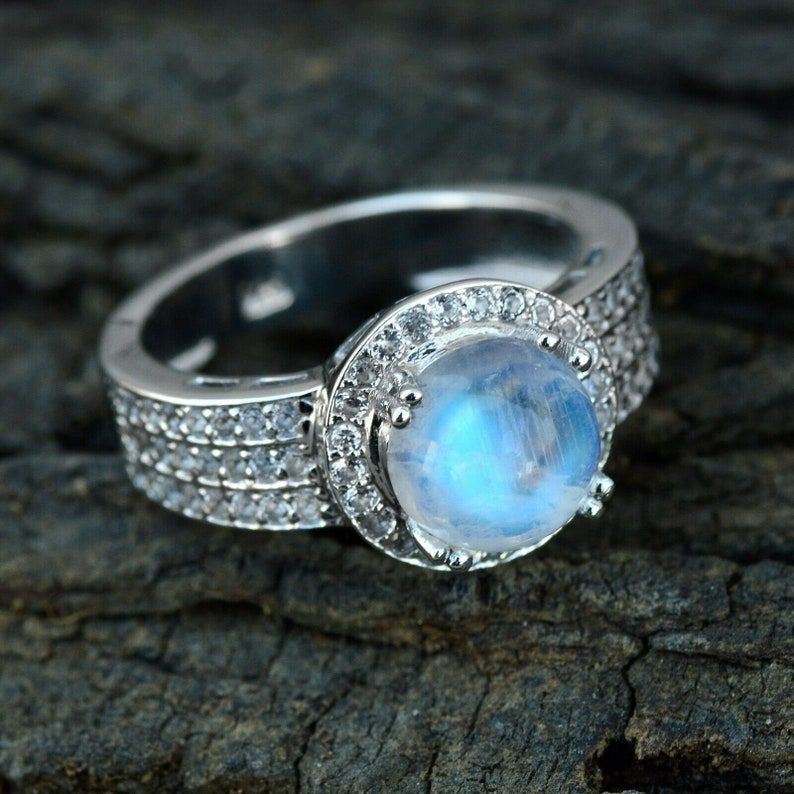 Natural Moonstone Ring Solid 925 Silver Anniversary Ring Christmas Gift For HerHandmade Certified Cluster Ring For Weeding