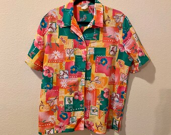 banded bottom pullover shirt women\u2019s size medium Vintage 1980s80s colorful long sleeve blouse with geometric 80s art novelty print