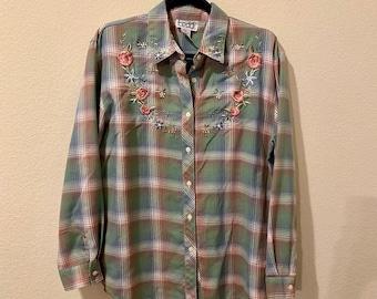 Vintage Teddi Floral Embroidered Flannel