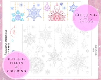 Christmas Mandalas for OUTLINE and Coloring, pdf. Ornaments, digital paper, instant downloads, coloring page, art therapy, gift