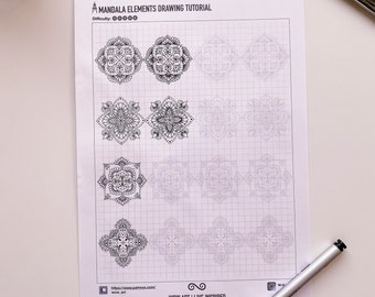 Patterns training sheets, pdf templates. Mandala art, ornaments, digital paper, instant downloads, handmade, art therapy, calligraphy