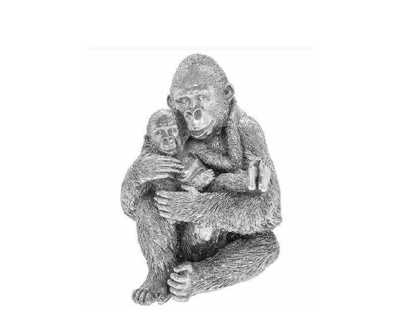 Silver Crystal Gorilla and Baby Sitting Statue Sparkly Ornament Figure African Decor Animal