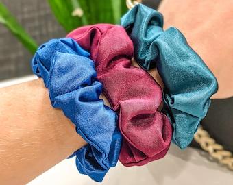 Large Gemstone Colored Satin Hair Scrunchie Set