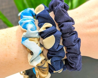 Small Skinny Blue Floral and Dot Print Hair Scrunchie Set
