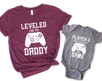 Leveled up Shirt,Dad and son matching  Shirts Shirt,New Dad Shirt,Dad Shirt,Daddy Shirt,Father's Day Shirt,Gift for Dad