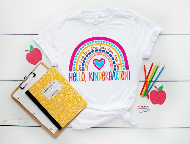Hello Kindergarten ShirtsTeach Love Inspire ShirtBack To image 0