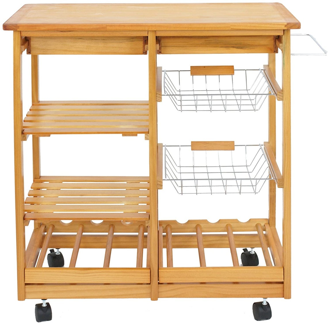 Rolling Wood Kitchen Island Storage Trolley Utility Cart Rack w Storage Drawers Baskets Dining Stand w Wheels Countertop Wood Wood Top