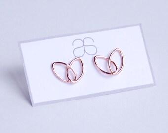 Rose gold plated silver open heart/ leaf stud earrings