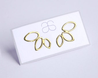 Yellow gold plate leaf design earrings