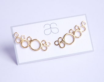 Yellow Gold plated Sterling Silver Ear climbers