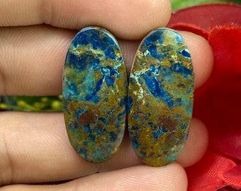 36x27x7 MM AAA+++ Quality Best Design Oval Shape Azurite Malachite Cabochon 85.45 Crt. Azurite Loose Stone Jewelry Gemstone