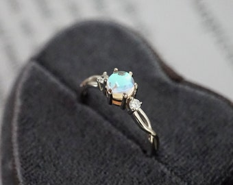 Sterling Silver Simulated Moonstone with CZ Crystal Ring, Modern Minimal Adjustable Ring, Dainty Birthstone Ring *R008