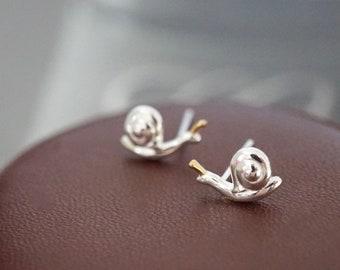 Handmade Snail Earrings Painted Animal Studs