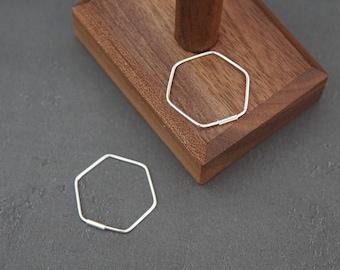 Sterling Silver Minimalist Geometric Small Hexagon Hoop Style Earrings, Skinny Earrings, Modern Design  **Gift for Her** B021