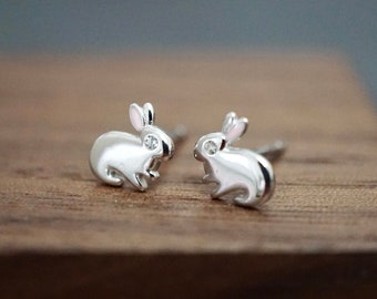 Available in Raw Brass Tiny Bunny Earring Studs Stainless Steel Posts and Rose Gold Silver