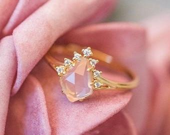 Natural Rose Quartz Ring - 14K Gold Vermeil Vintage Ring, Adjustable Sterling Silver Ring, Promise Anniversary Pink Birthstone Ring *R063 *