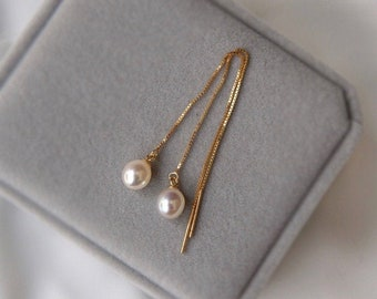 Natural Pearl Threader Earrings - Champagne Gold Plated 925 Silver, Freshwater Pearl Earrings, Irregular Pearls Wire Wedding Earrings *B330