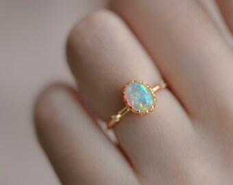 Oval Cut Opal Ring - 14K Gold Vermeil Vintage Ring, Adjustable Sterling Silver Gemstone Ring, Birthstone Anniversary Ring *R114