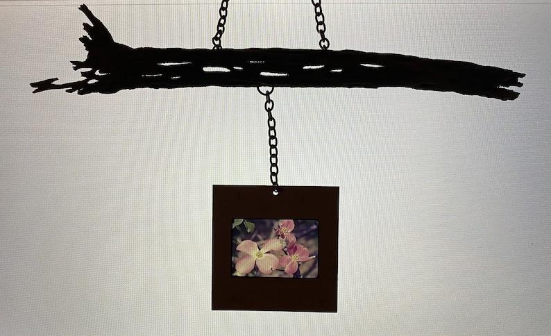 Mixed Media Mobile with Vintage 35mm Slide on Organic Wild Cholla Wood Dogwood Flower Suncatcher