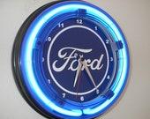 Ford FoMoCo Motors Auto Mechanic Garage Bar Advertising Man Cave Blue Neon Wall Clock Sign
