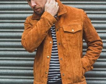 Men's Brown Real Suede Leather Trucker Jacket American Western Denim Levis Style Jacket