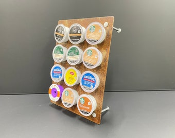"""K Cup Coffee Holder, Rustic Look """"Pick-A-Cup"""" 12 cup pods"""