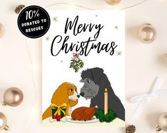 PRINTABLE Dog Christmas Card, Romantic Christmas Card, Disney Christmas Card, Christmas Card for Boyfriend/Husband, Christmas Card for Wife