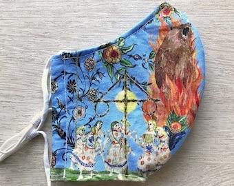 Midsommar Festival Folk Art Cotton Face Mask Blue