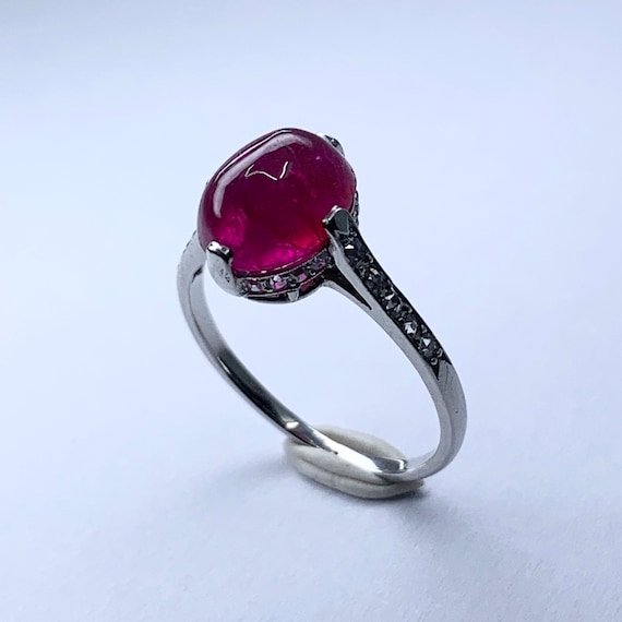 Ruby and diamond french ring