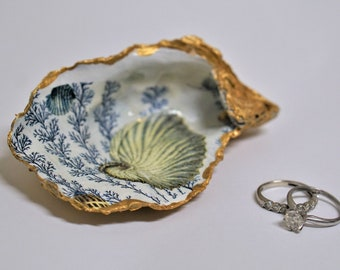 Young Couple OOAK Rhinestone Crystal Ring Dish SOULMATES Sea Shell Art Clam Jewelry Holder
