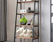 Industrial 4-Tier Ladder Shelf Rustic Bookcase Bookshelf Plant Flower Stand Storage Metal Frame UK