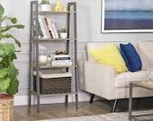 Grey Metal Wood Ladder Bookshelf Shelving Unit 4 Tier Bookcase Plant Stand Leaning Shelves Storage Rack Metal Frame 56 x 34 x 137.5cm