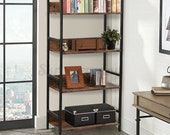 Industrial Ladder Shelf 4 Tiers Bookshelf Brown Plant Flower Stand Storage Rack Home