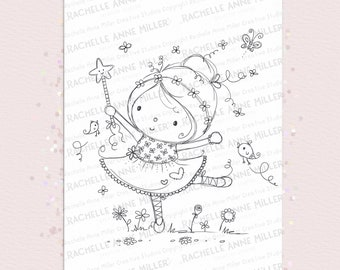 Kids BabyGirl Little girl dancing Cute Music dance Ballerina Coloring Page Ballet Digital Art Card Digi Stamp Instant
