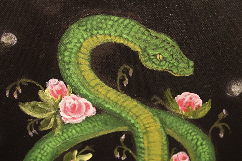 Acrylic Floral wall decor Pretty Danger Noodle Living Room Wall Decor Snake and flowers Painting flower snake