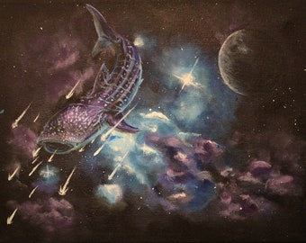 Original Whale Shark Painting, blue wall art, Galaxy wall decor, whale in space, shark in space, Nebula art