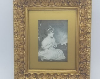 The Age of Innocence by Sir Joshua Reynolds Print in Gold Ornate Victorian Style Frame Black & White Print