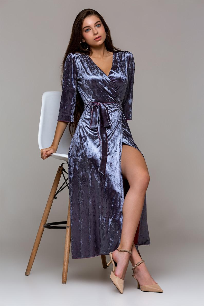 Velvet wrap dress sleeve 34 \u2022 Custom made silver blue cocktail dress \u2022 Made to measure Petit velvet dress to plus size formal dress