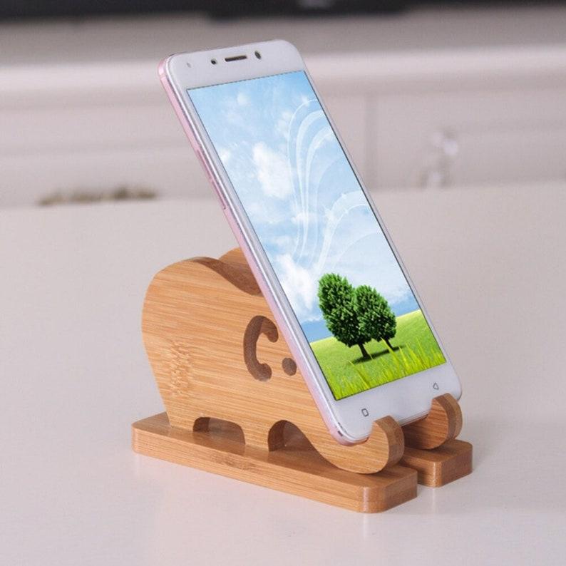 HOT DEALBase Portable Bracket Universal Mobile Tablet Phone Holder Cartoon Elephant Desktop Practical Storage Rack Bamboo Wooden Stand