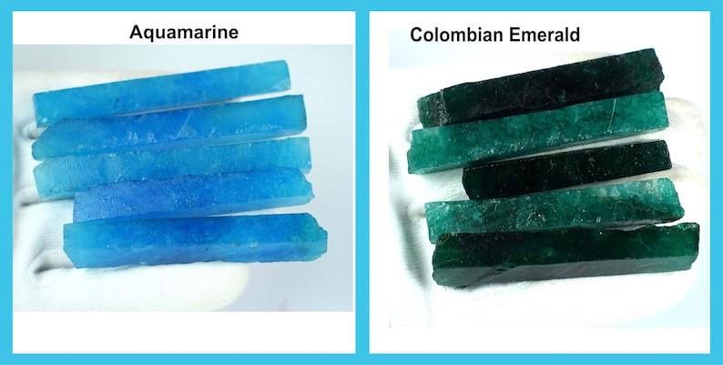 Colombian Emerald /& Aqua Blue Aquamarine 600 Ct+10 Pcs Natural Gemstone Slice Rough Lot Super Sale