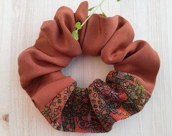hair tie Japanese kimono silk Large size Silk scrunchie Dusty rose pink
