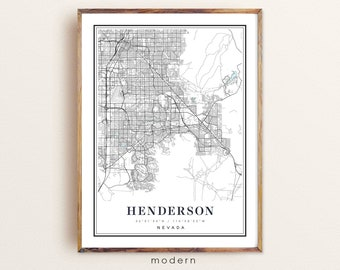 Henderson Map Print City Street Road Map Wall Decor,city map decor NM55 gift for a new house Nevada NV USA Map Art Poster